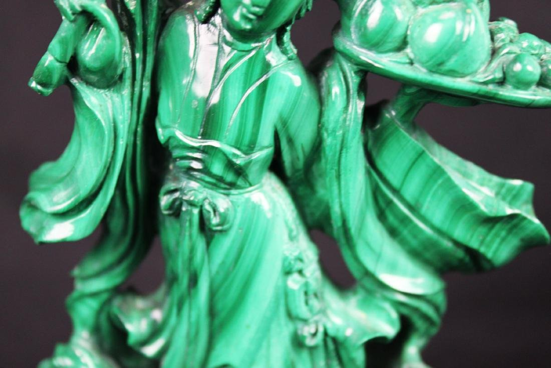 Hand Carved Chinese Malachite Stone Statue - 3