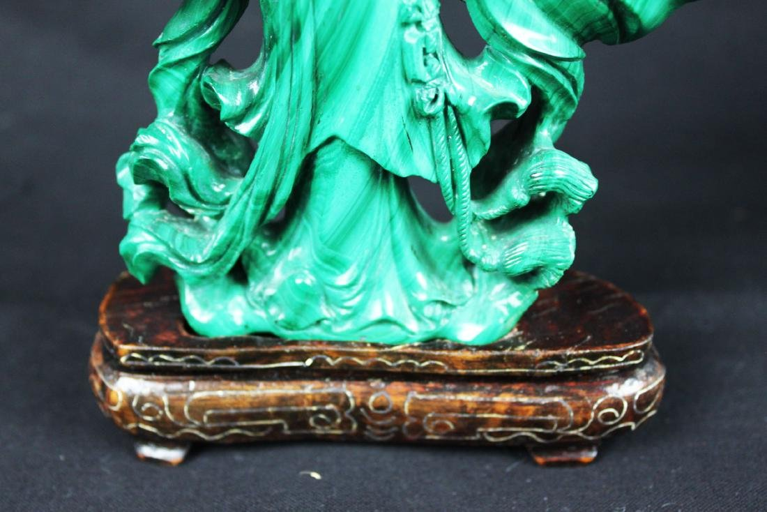 Hand Carved Chinese Malachite Stone Statue - 4