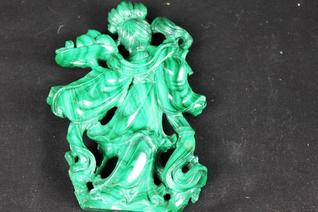 Hand Carved Chinese Malachite Stone Statue - 6