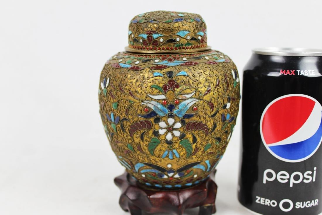 Antique Chinese Bronze Cloisonne Vase 1800s'