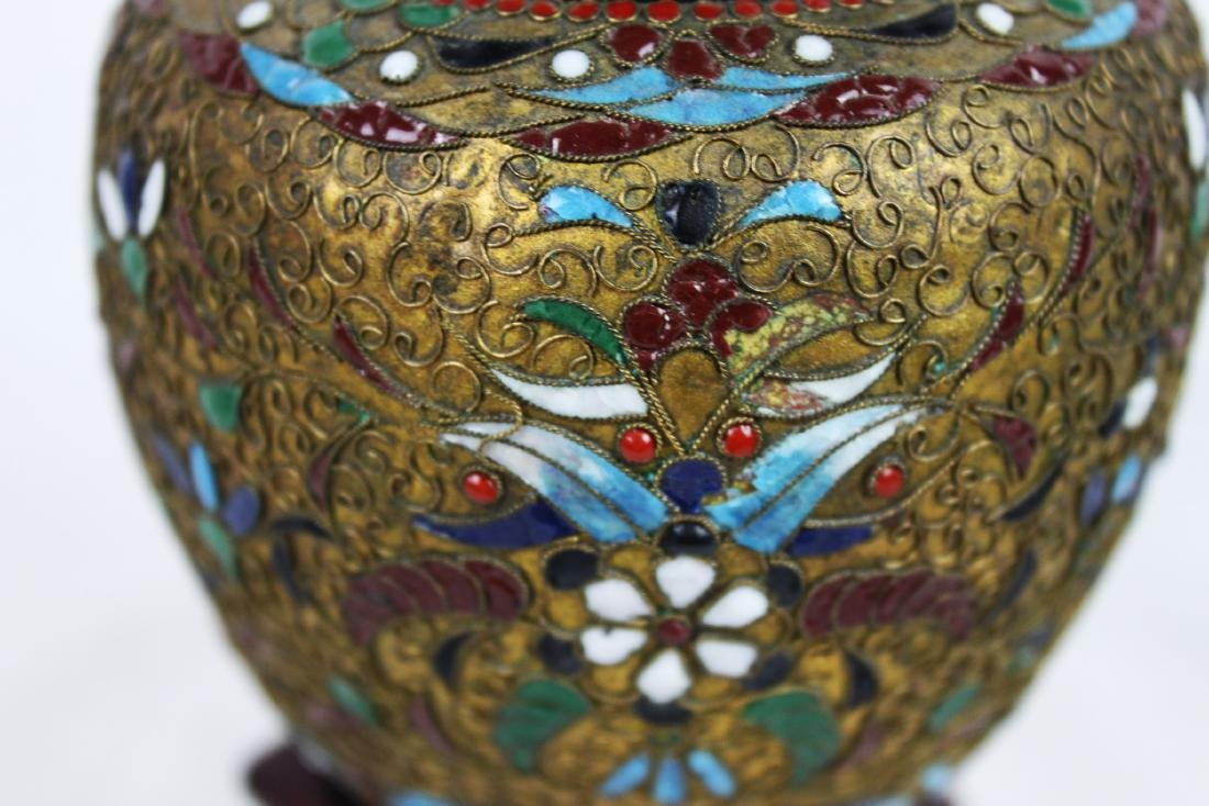 Antique Chinese Bronze Cloisonne Vase 1800s' - 3