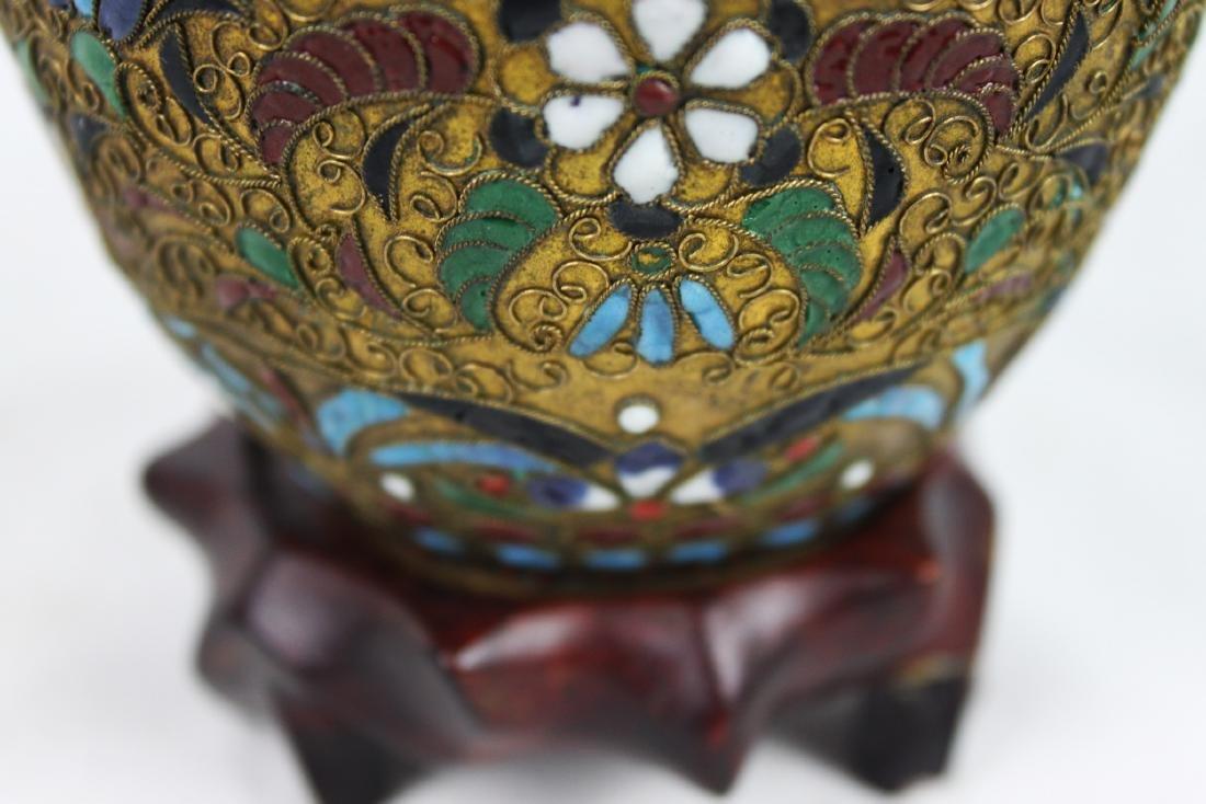 Antique Chinese Bronze Cloisonne Vase 1800s' - 4