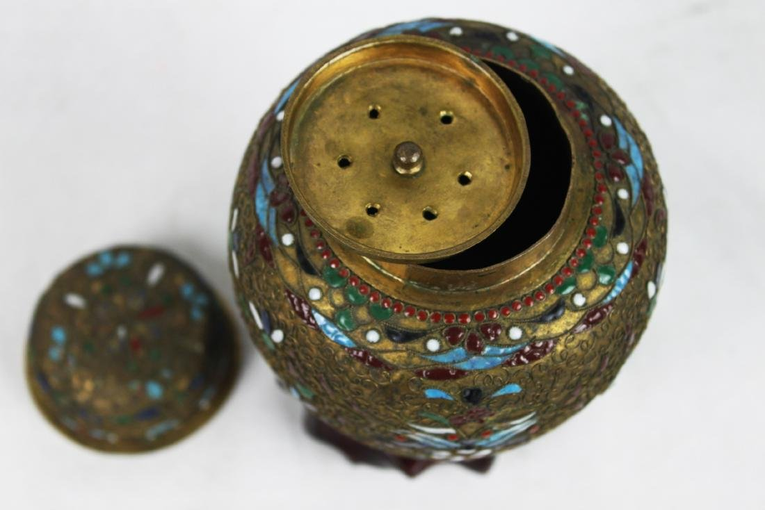 Antique Chinese Bronze Cloisonne Vase 1800s' - 5