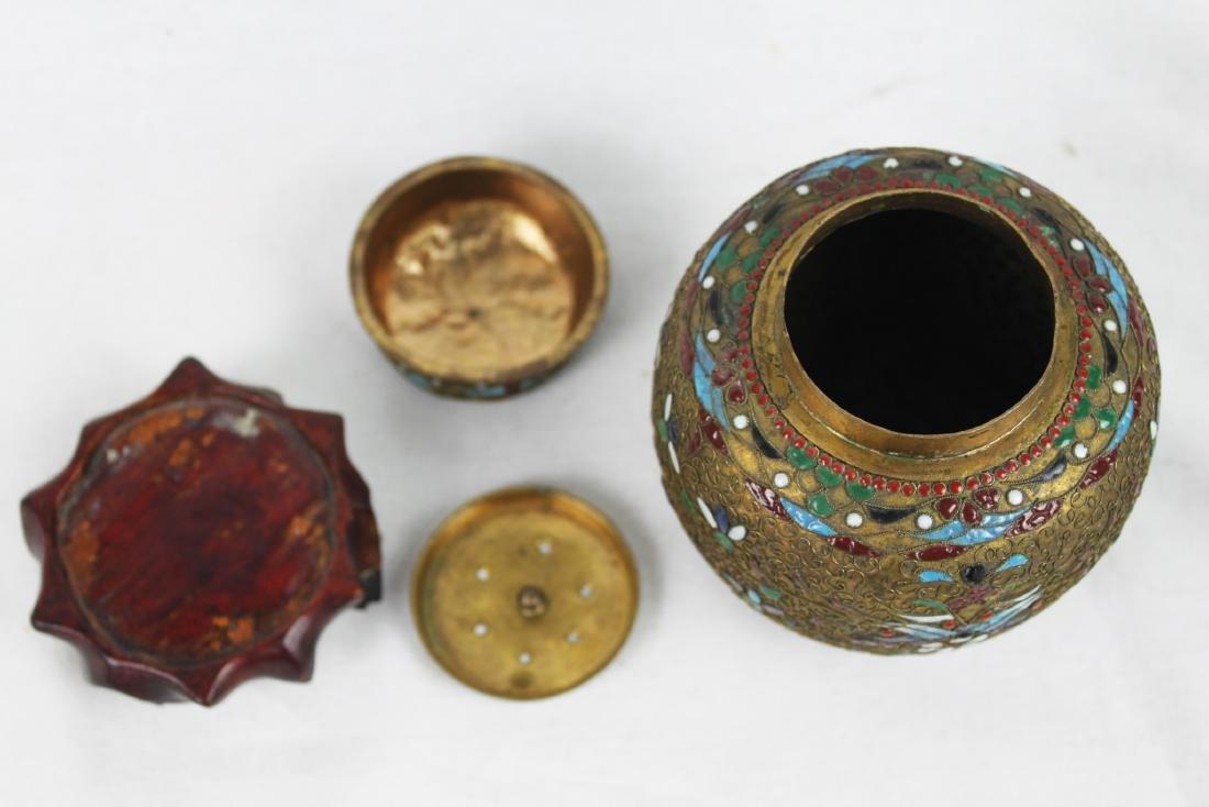 Antique Chinese Bronze Cloisonne Vase 1800s' - 6
