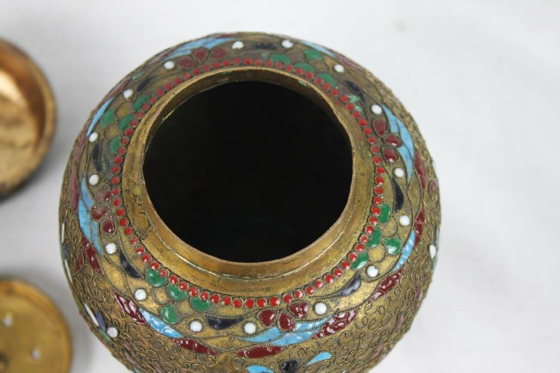 Antique Chinese Bronze Cloisonne Vase 1800s' - 7