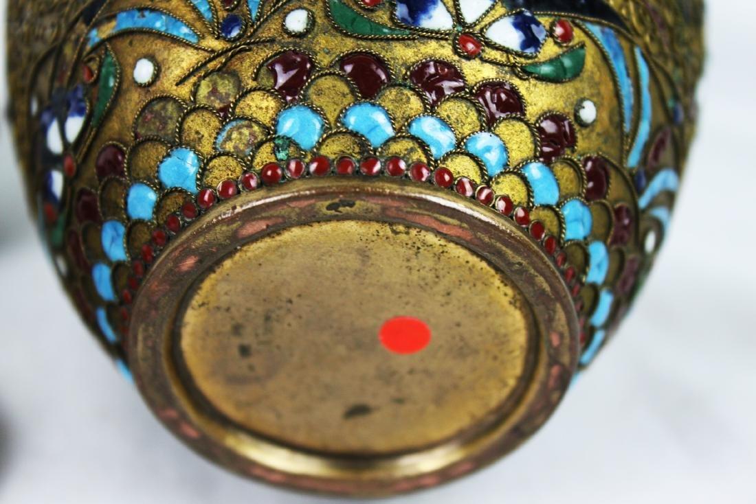 Antique Chinese Bronze Cloisonne Vase 1800s' - 8