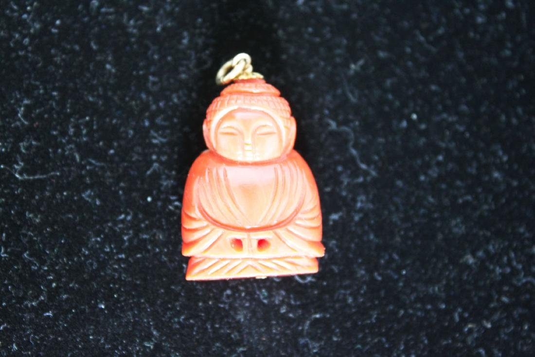 Hand Carved Red Coral Necklace Pendant - 3
