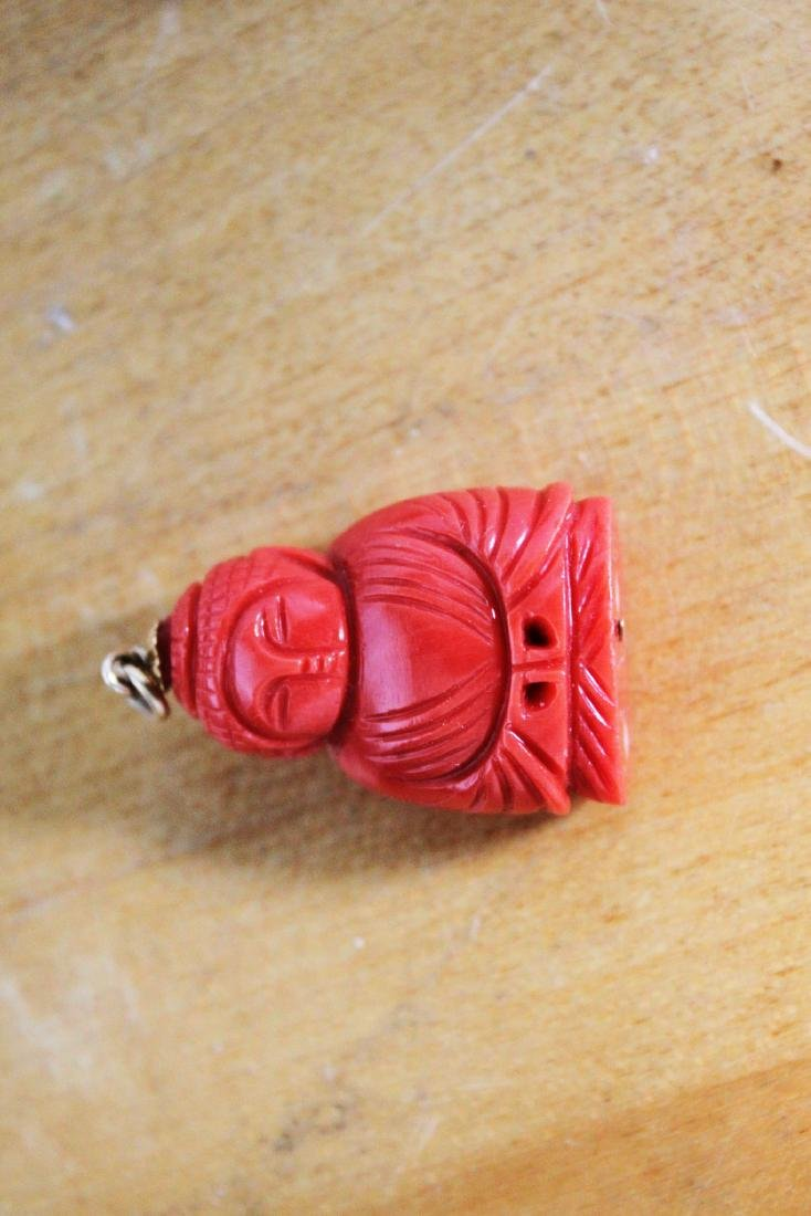 Hand Carved Red Coral Necklace Pendant - 4