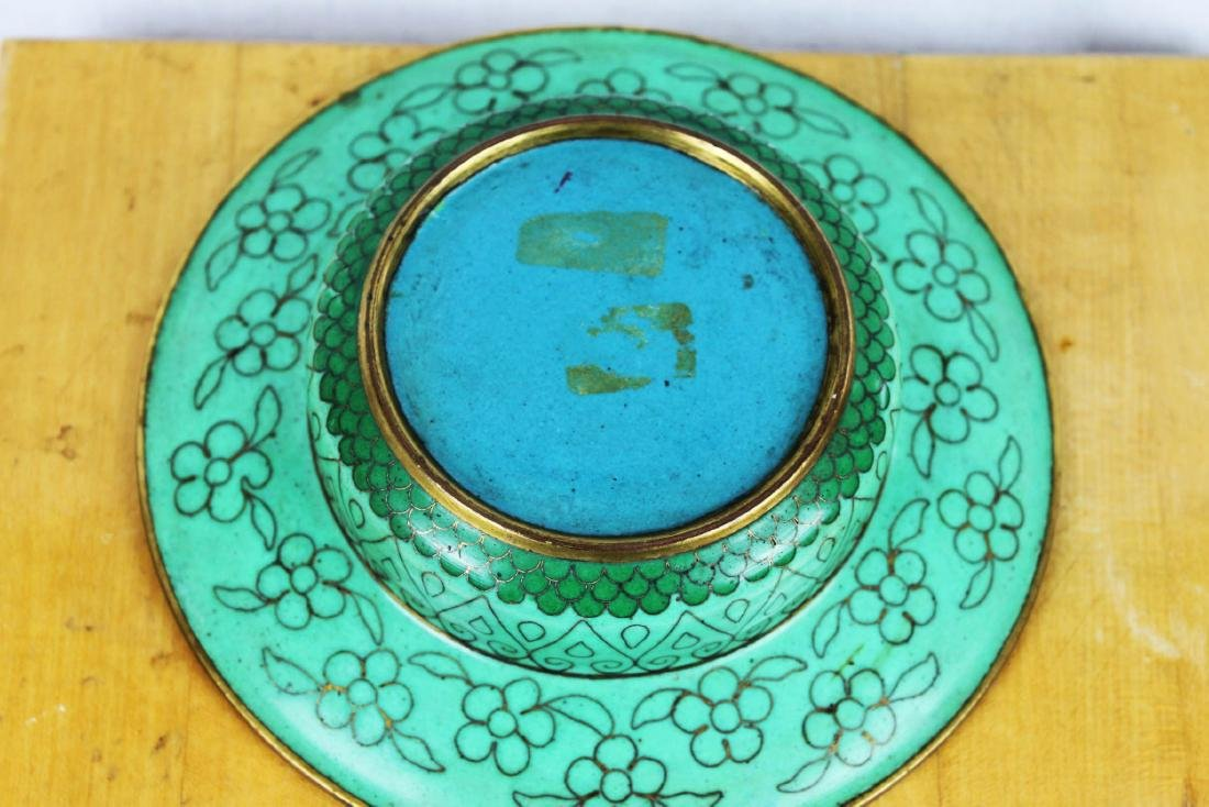 Antique Chinese Cloisonne Plate - 7