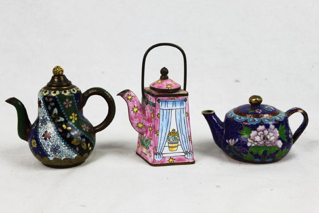 Three Antique Cloisonne Tea pots