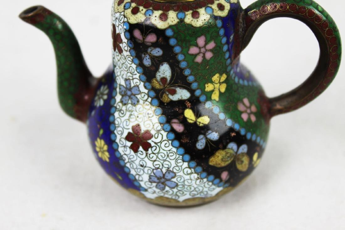 Three Antique Cloisonne Tea pots - 3