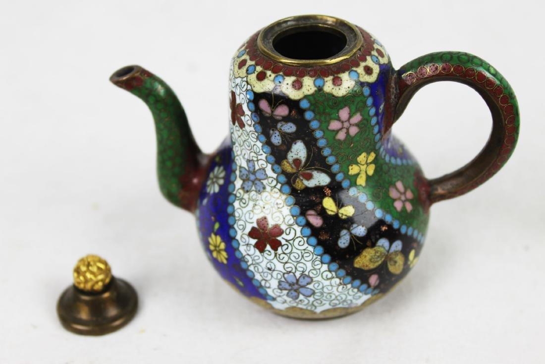 Three Antique Cloisonne Tea pots - 4