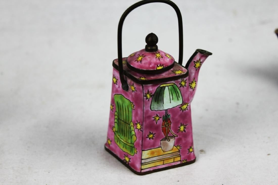 Three Antique Cloisonne Tea pots - 8