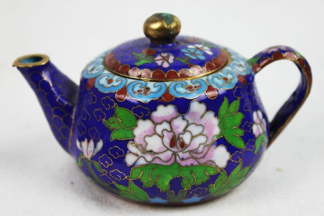 Three Antique Cloisonne Tea pots - 9