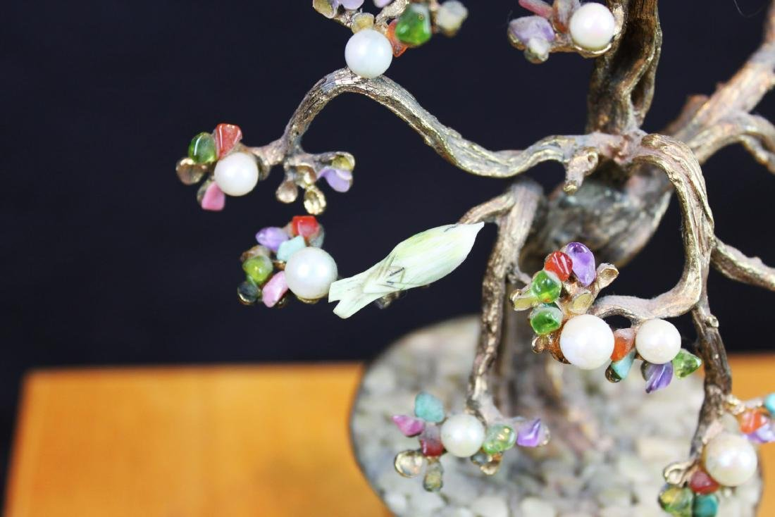Antique Chinese Jade Rose Quartz Tree - 5