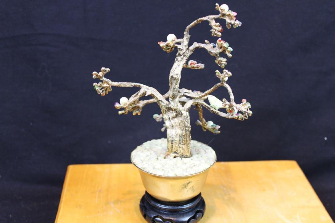 Antique Chinese Jade Rose Quartz Tree - 9