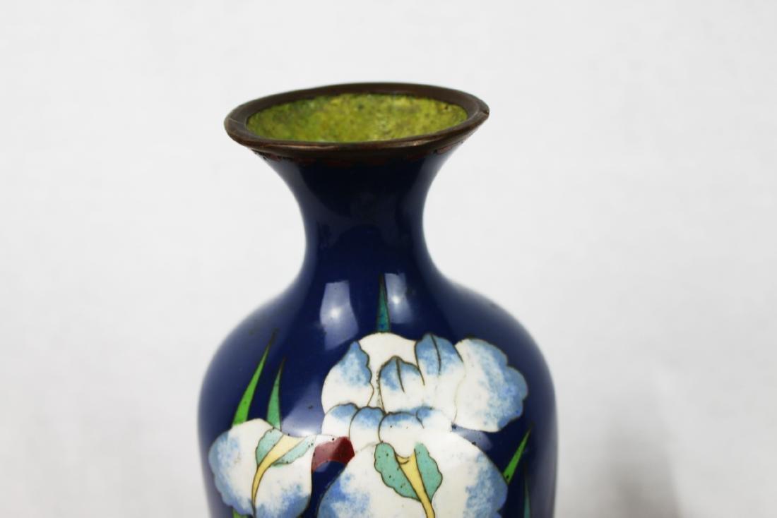 Blue Cloisonne Porcelain Vase - 2