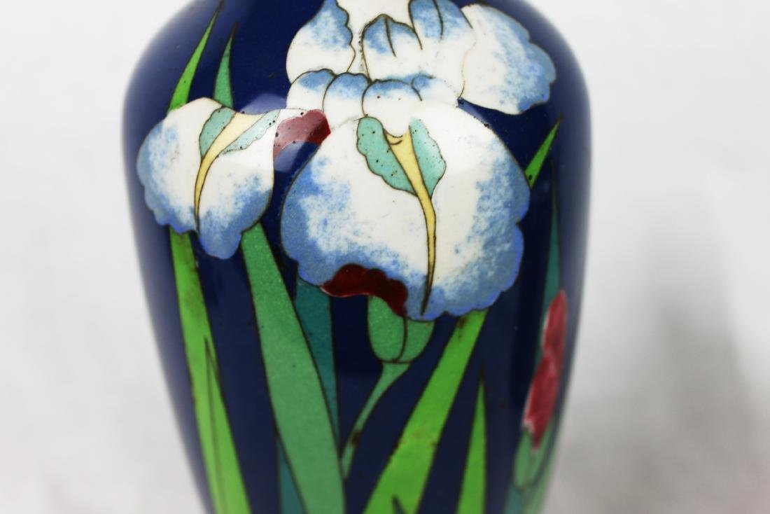 Blue Cloisonne Porcelain Vase - 3