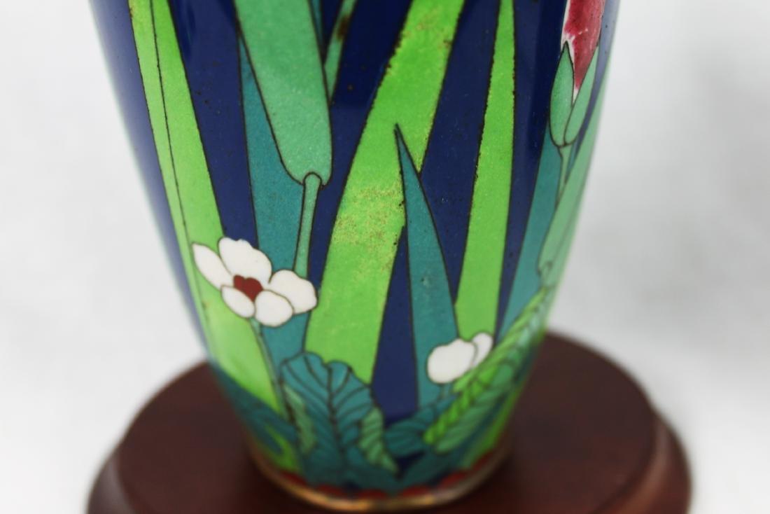 Blue Cloisonne Porcelain Vase - 4