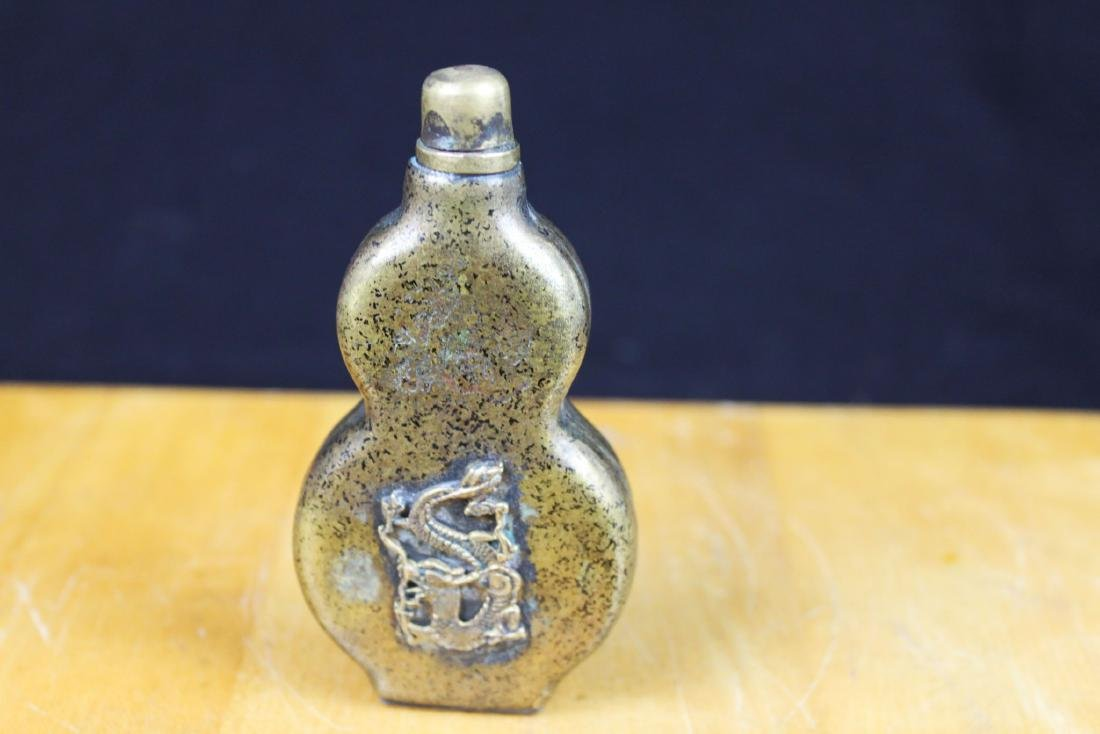 Antique Chinese Bronze Snuff Bottle - 5