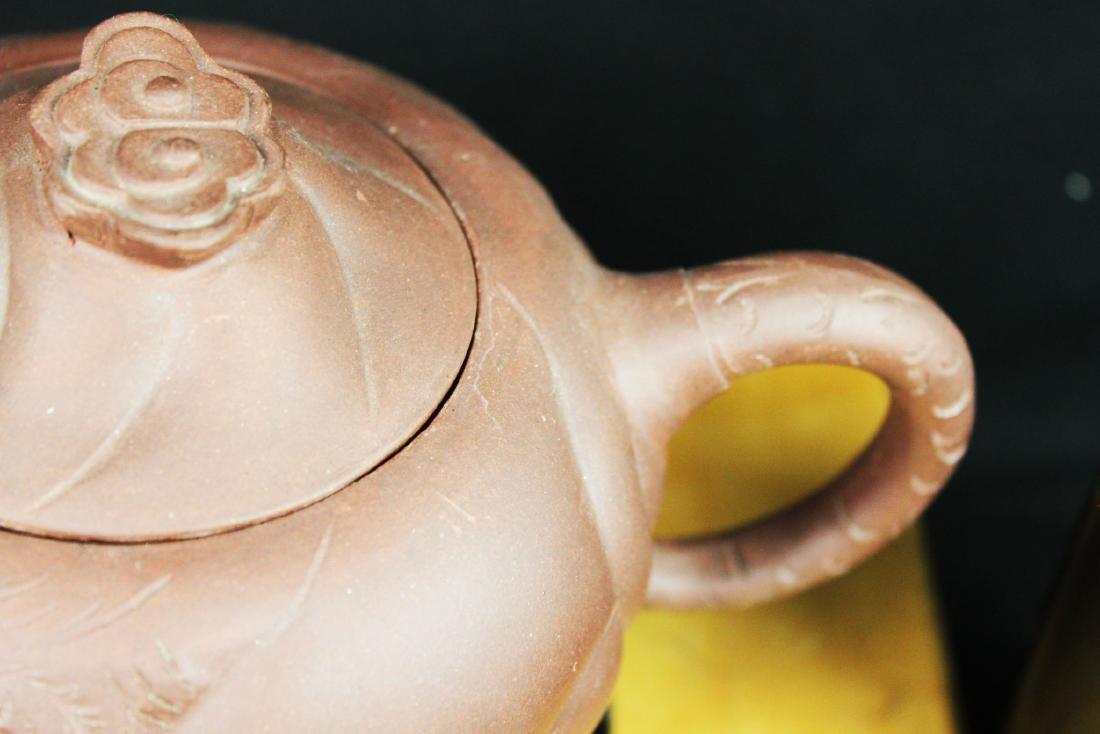 Chinese Yixing Zisha Tea Pot w/ wood stand - 3