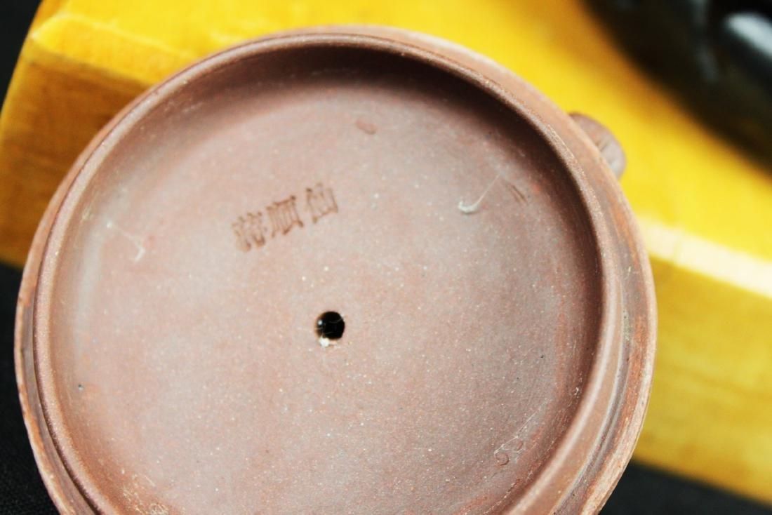 Chinese Yixing Zisha Tea Pot w/ wood stand - 6