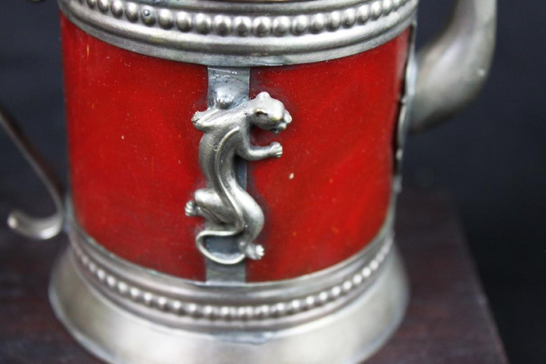 Antique Cloisonne Sterling Silver Tea Pot - 10