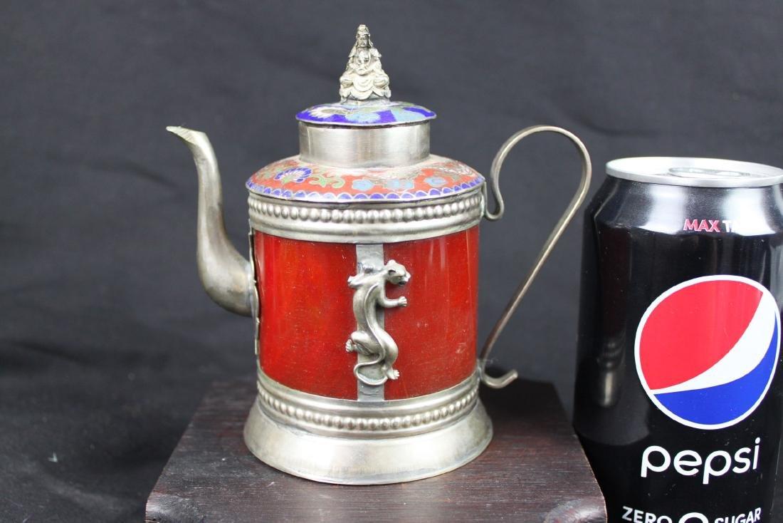 Antique Cloisonne Sterling Silver Tea Pot