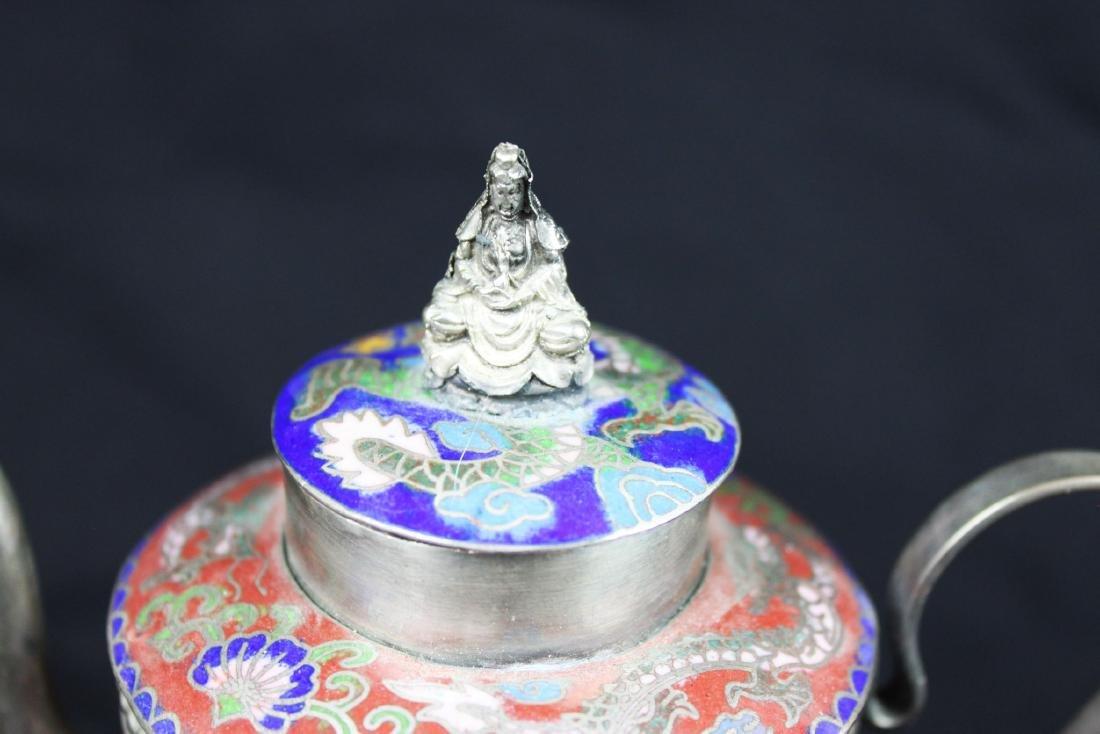 Antique Cloisonne Sterling Silver Tea Pot - 2