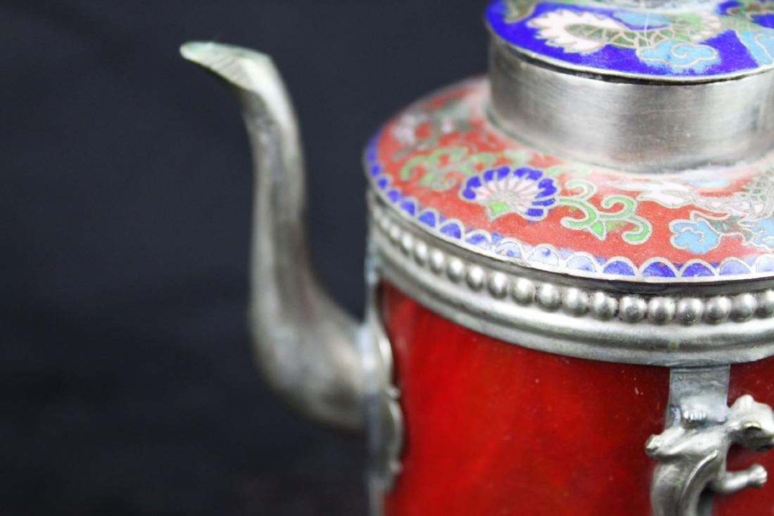 Antique Cloisonne Sterling Silver Tea Pot - 3