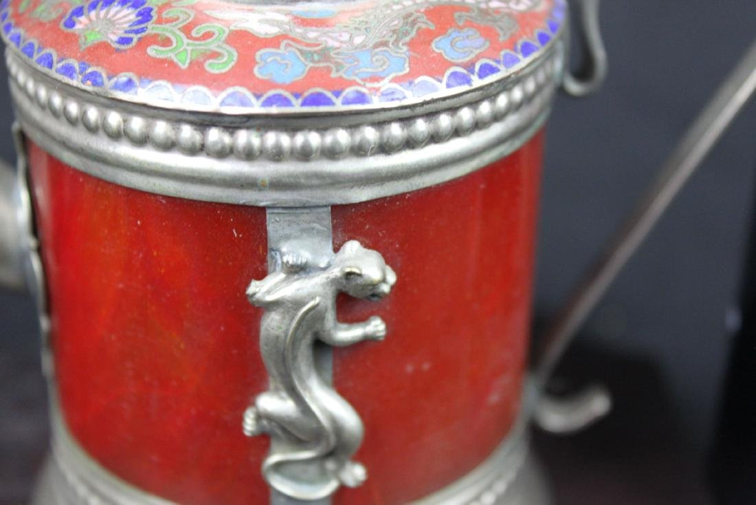 Antique Cloisonne Sterling Silver Tea Pot - 4