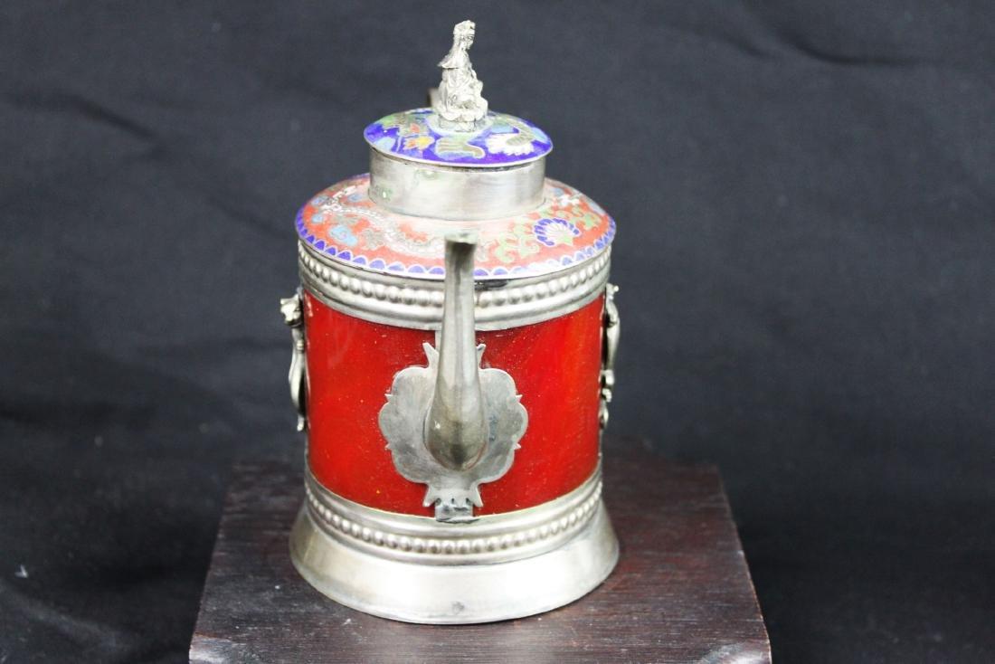 Antique Cloisonne Sterling Silver Tea Pot - 7