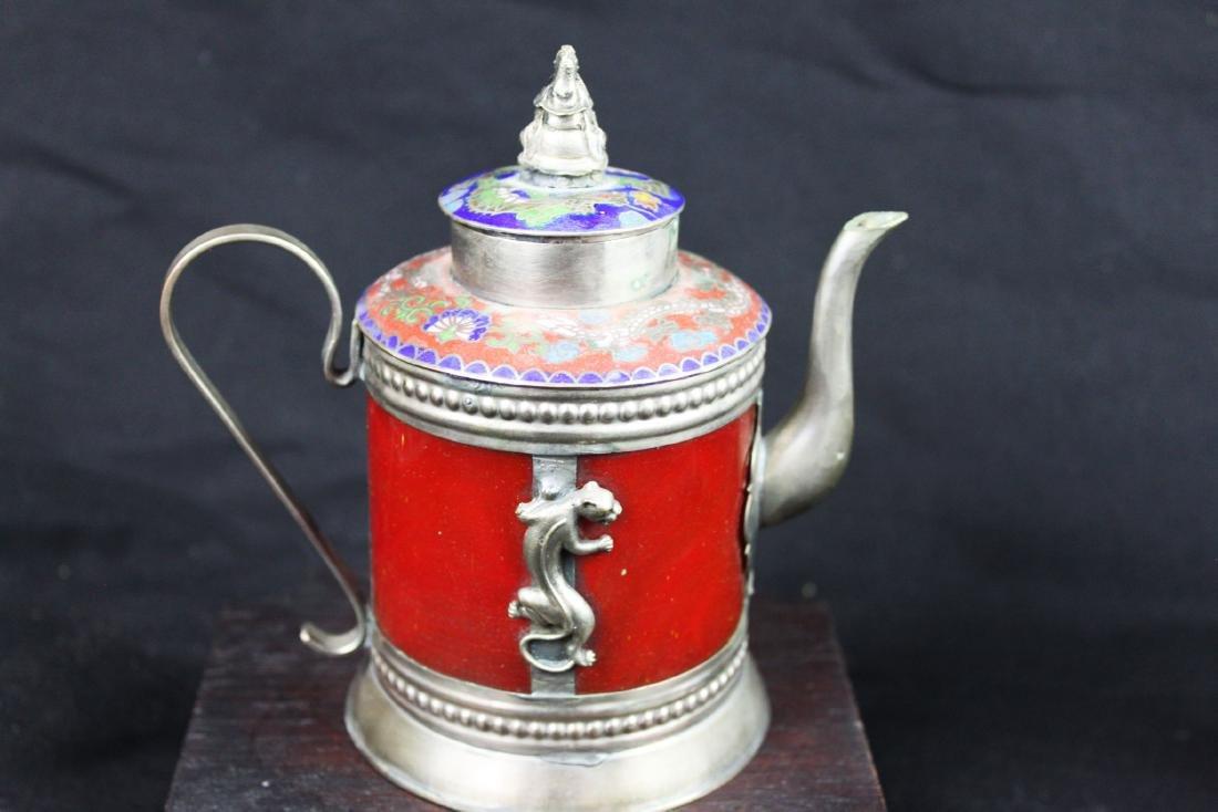Antique Cloisonne Sterling Silver Tea Pot - 8