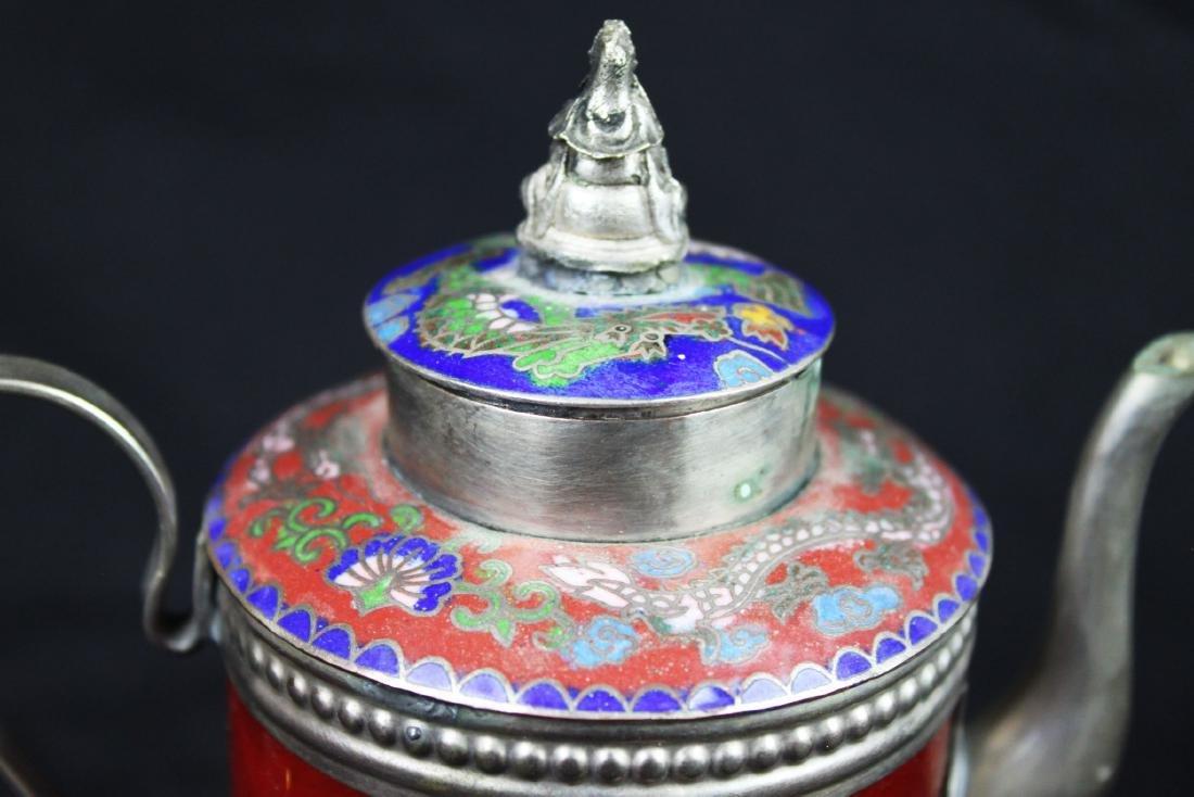 Antique Cloisonne Sterling Silver Tea Pot - 9