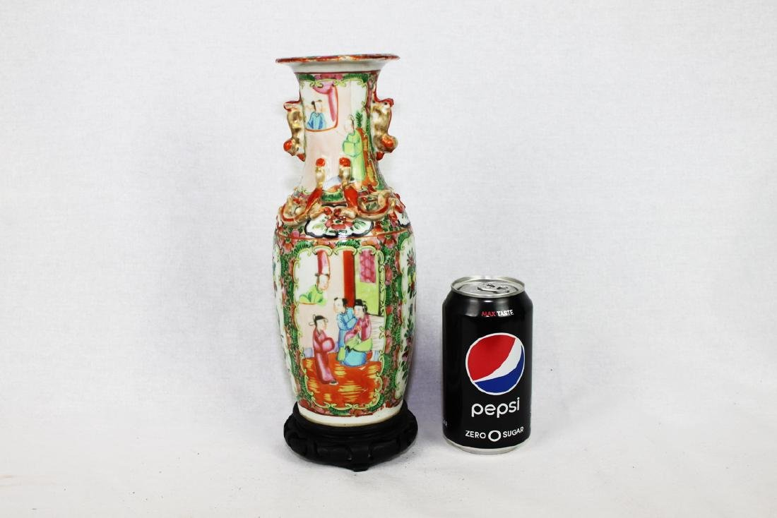 Large Chinese Famille Rose Vase with Wood Stand