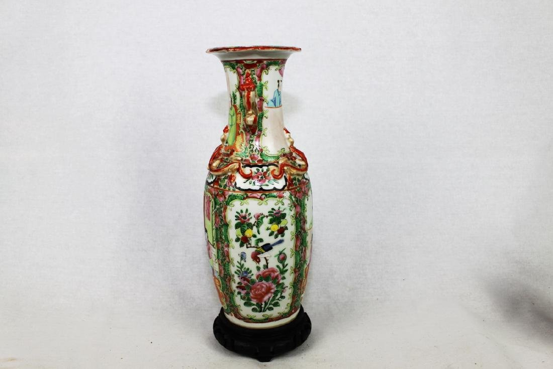 Large Chinese Famille Rose Vase with Wood Stand - 3