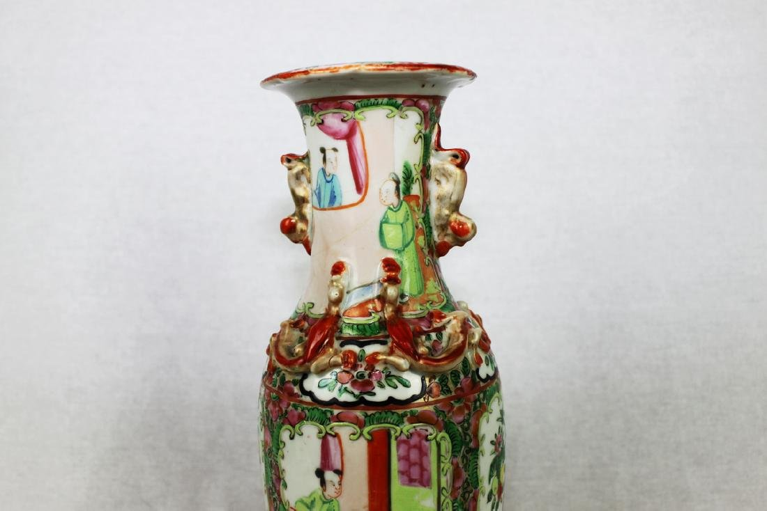 Large Chinese Famille Rose Vase with Wood Stand - 4