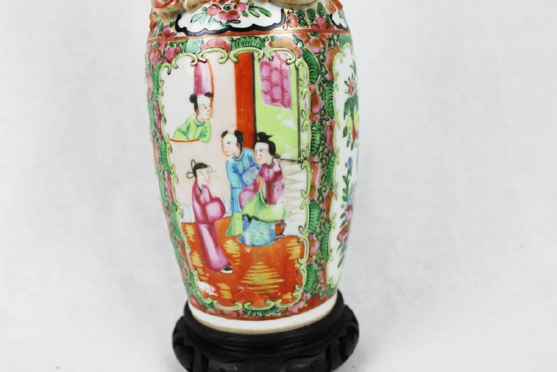 Large Chinese Famille Rose Vase with Wood Stand - 5