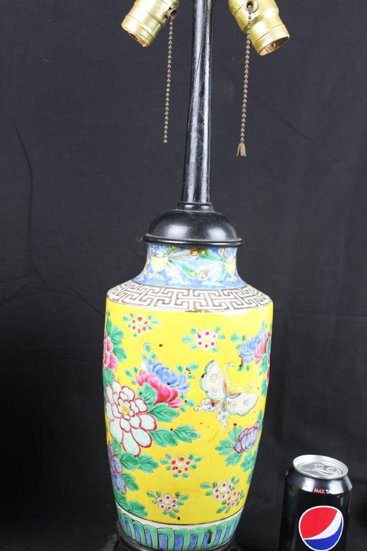 Antique Chinese Famillie Rose Porcelain Lamp