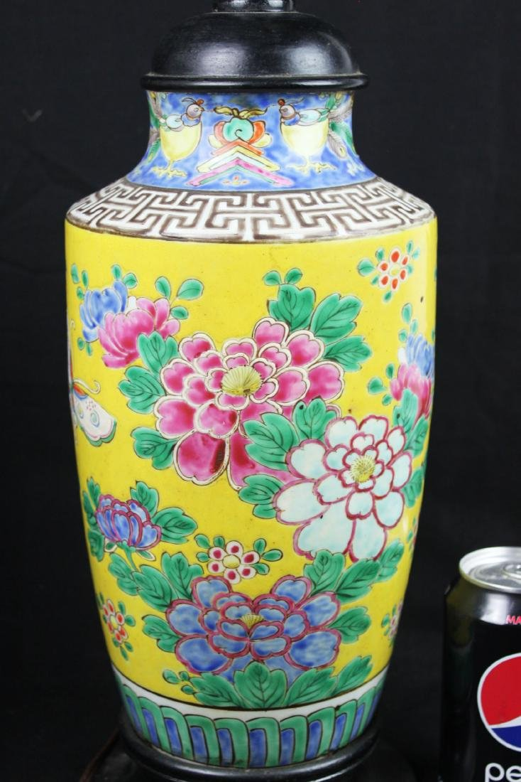 Antique Chinese Famillie Rose Porcelain Lamp - 6