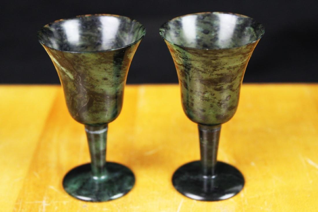 A pair Chinese Green Jade Shot Glasses