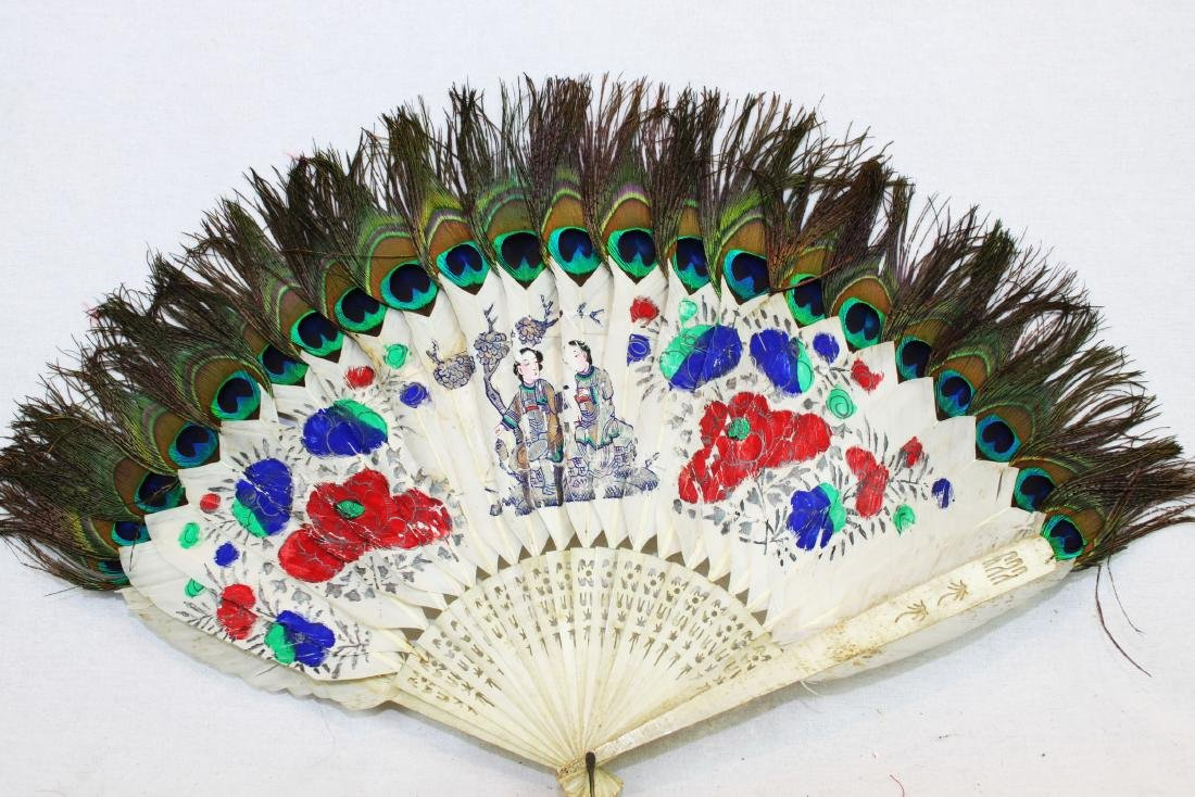 Antique Peacock Folding Fan w/Tangka Painting