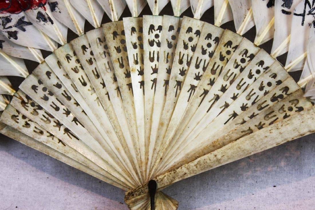 Antique Peacock Folding Fan w/Tangka Painting - 6