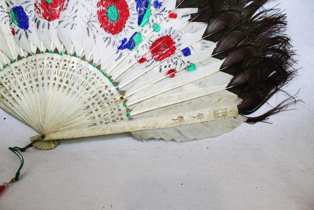Antique Peacock Folding Fan w/Tangka Painting - 8