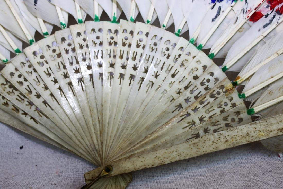Antique Peacock Folding Fan w/Tangka Painting - 9