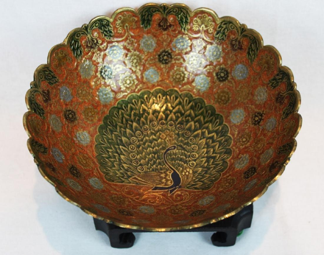Vintage India Brass Bowl Enamel Peacock - 2