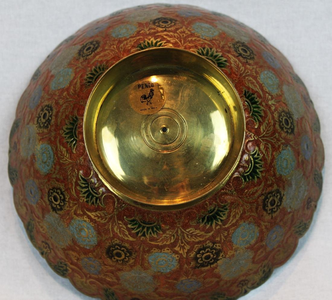 Vintage India Brass Bowl Enamel Peacock - 4
