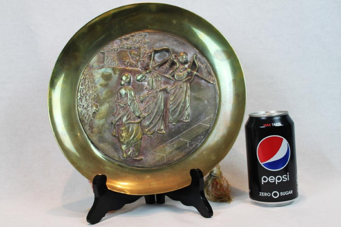 Oriental Brass Plate Enamel with Three Warriors with