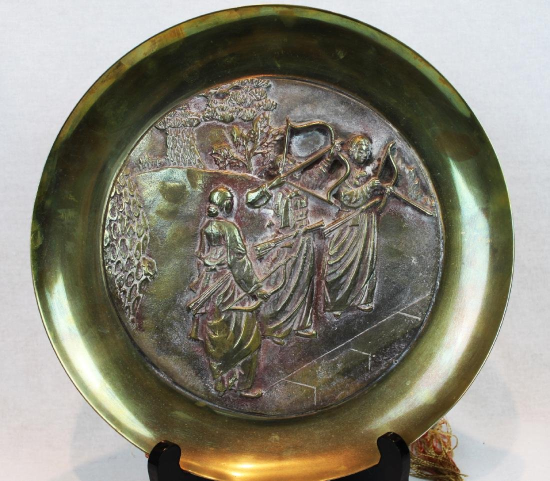Oriental Brass Plate Enamel with Three Warriors with - 2