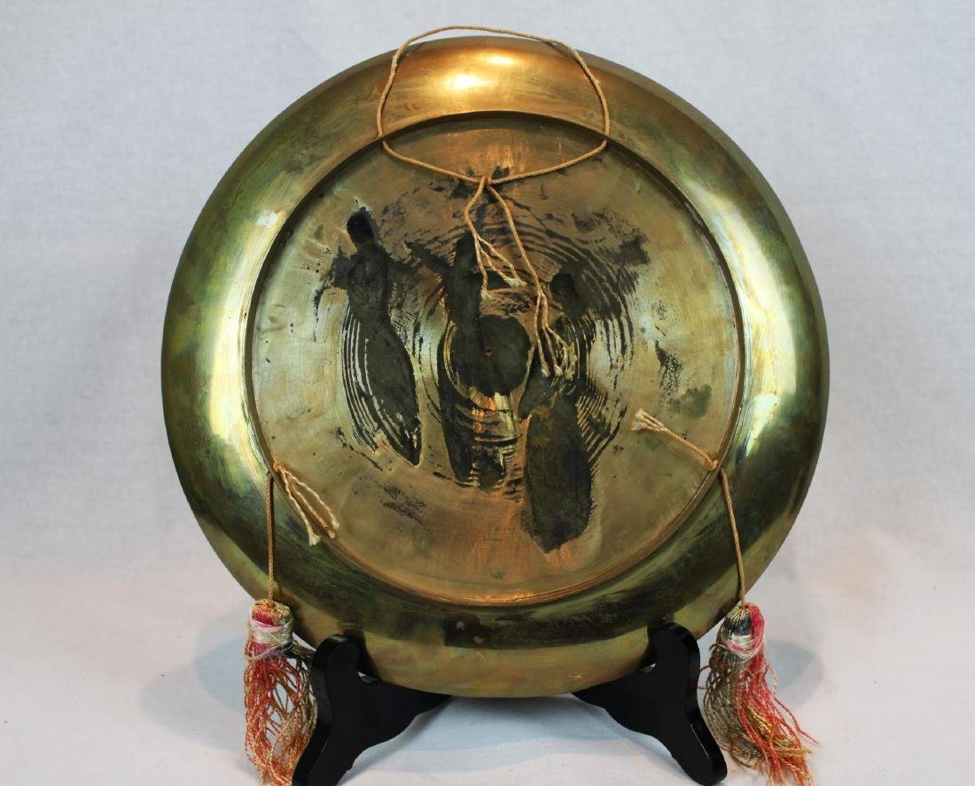 Oriental Brass Plate Enamel with Three Warriors with - 5